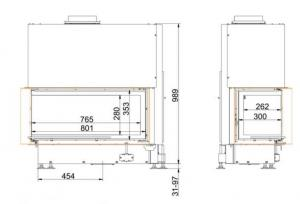 Brunner 38/86/36 Architektur-Eck-Kamine,лева/права