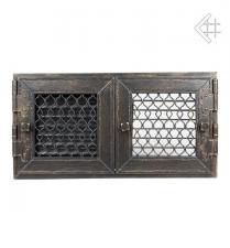 Kratki решетка графит ретро с двумя дверками открывающаяся 22*22