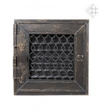 Kratki решетка графит ретро с одной дверкой открывающаяся 22*22