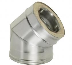 Отвод двустенный 45* 1мм 430нерж/нерж