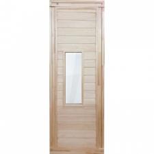 Дверь для бани деревянная 1700х700мм со стеклом