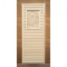 Дверь для бани деревянная глухая с рисунокм 1900х700мм