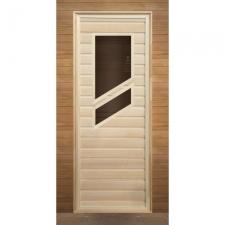 Дверь для бани деревянная с 2-мя косыми стеклами 1900х700мм