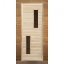 Дверь для бани деревянная с 2-мя стеклами 1900х700мм