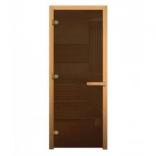 Дверь для бани стеклянная 1800х700 (матовая бронза, 3 петли, 8мм)