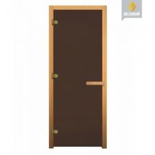 Дверь для бани стеклянная 2010х810 (матовая бронза, 3 петли, 8мм)