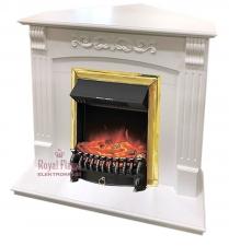 Sorrento [Сорренто] угловой белый дуб с очагами Fobos FX / Majestic FX - электрокамин Royal Flame