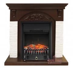 Bern [Берн] мелкий сланец белый темный дуб с очагами Fobos FX / Majestic FX - электрокамин Royal Flame
