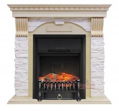 Dublin [Дублин] арочный сланец крем слоновая кость с очагами Fobos FX / Majestic FX - камин Royal Flame